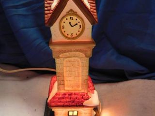 lighted Christmas clock tower