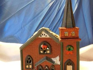 Ceramic Church for Holiday Display Town