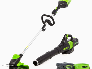 Greenworks Pro Stba60b411 60v Cordless String Trimmer   Jet Blower Kit