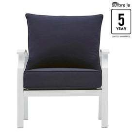 allen   roth Seavale Set of 2 Aluminum Conversation Chairs with Sunbrella Canvas Navy Cushioned