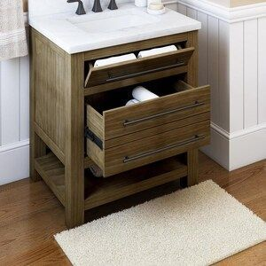 allen   roth Kennilton 30 in Gray Oak Single Sink Bathroom Vanity with Gray Oak Engineered Stone Top