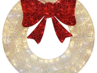 Home Accents Holiday 3 ft Warm White and Red lED Twinkling Wreath