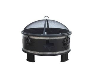 Hampton Bay Montrose Diameter 30 in x H23 8in  Round Steel Wood Burning Fire Pit with Texas Decoration  Antique Silver