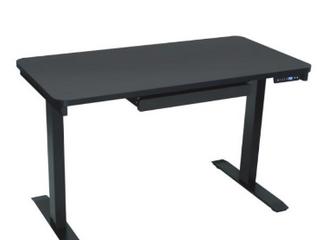 Electric Height Adjustable Black Desk 1 Drawer 48 x24