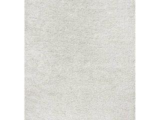 JONATHAN Y Mercer Shag Plush Tassel White 4 ft  x 6 ft  Area Rug