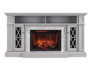 Home Decorators Collection Parkbridge 68 in  Freestanding Infrared Electric Fireplace TV Stand in Gray with Carrara Marble Surround  light Gray