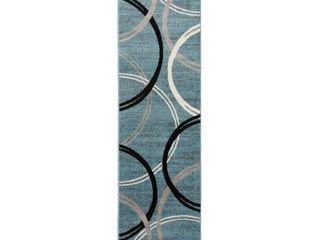 Modern Abstract Circles Design Area Rug 2  x 7  2  Blue
