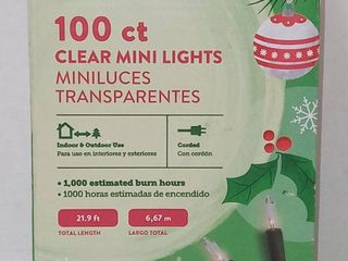 100 ct Clear White Mini Holiday lights  length 21 9 ft