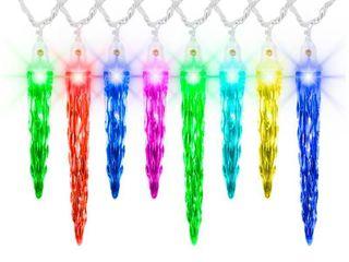 lightShow Christmas lights 24 5 ft Multicolor Motion Icicle lights  23 ft lighted length  Set of 24