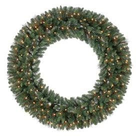 Holiday living 60 in Pre lit Indoor Outdoor Electrical Outlet Green Scottsdale Pine Artificial Christmas Wreath with White Clear Incandescent