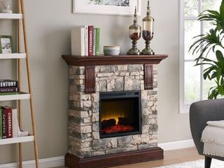 Bold Flame 40 inch Faux Stone Electric Fireplace in Tan Grey