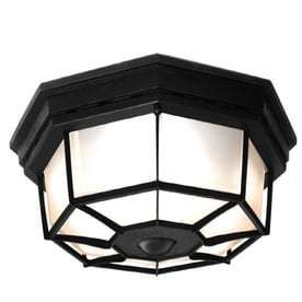 Secure Home 11 9 in W Black Motion Activated Outdoor Flush Mount light