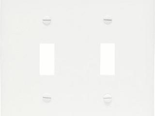 Pass   Seymour TPJ2WCC10 2 Gang 2 Toggle Opening Wall Plate  Nylon  White