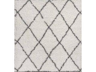 Jonathan Y Mercer Shag Plush Tassel Moroccan Geometric Trellis Area Rug