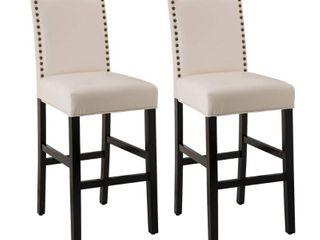Glitzhome leatherette Bar Chair w  Studded Back   Set of 2