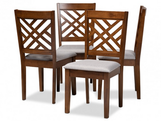 Baxton Studio Caron Fabric Upholstered Wood Dining Chairs   Set of 4