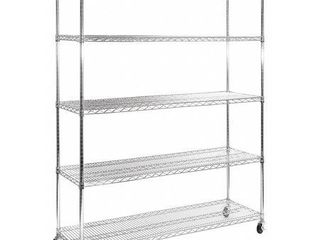 Seville Classics Ultra Durable Commercial Grade 5 Tier Steel Wire Shelving w  Wheels Silver