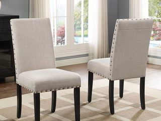 Roundhill Furniture Biony Fabric Nail Head Dining Chairs   Set of 2