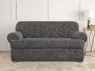 Sure Fit Stretch Jacquard Damask T loveseat Slipcover