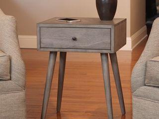 Mid Century Single Drawer Wood Side Table