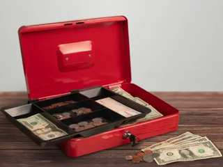Stalwart Petty Cash Box locking Safe w  Removable 5 Slot Coin Tray