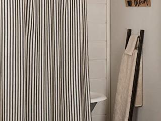 Sawyer Miller Charcoal Ticking Stripe Shower Curtain