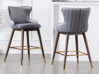 Greyson living leland Fabric Upholstered Counter Height Wingback Stools   Set of 2