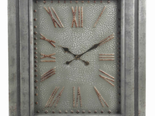 Rectangular Metal Wall Clock w  Roman Numerals