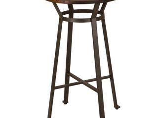 Glitzhome Farmhouse Elm Wood Top Steel Pub Bar Table