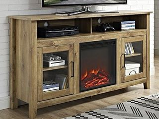 WE Furniture Wood Highboy Media Fireplace TV Stand Console