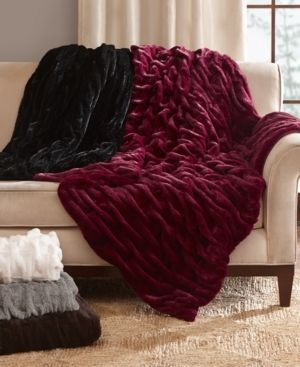 Brown Ruched Faux Fur Throw  60 x50