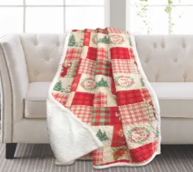 Holiday Patchwork Sherpa Throw 50x60 Red Quilt