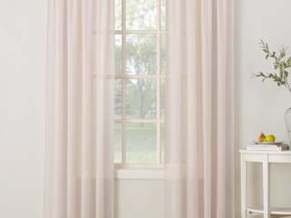 Set Of Two Pink Sheer Window Panels  long