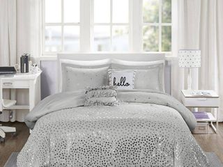 Gray   Silver Nova Metallic Comforter Set  Twin Twin Xl  4pc