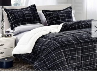 Elegant Comfort 3 piece Plaid Pattern  Color Blue