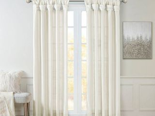 108 x50  lillian Twisted Tab lined light Filtering Curtain Panel White