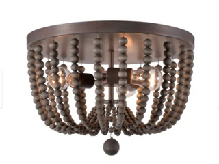 Zander 3 light Flush Mount   Golden Bronze with Gray Wood Beads Retail 139 99