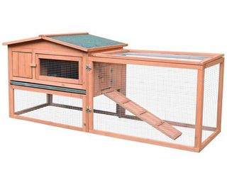 PawHut 62  Wooden Outdoor Guinea Pig Pet House   Rabbit Hutch Small Animal Habitat With Detachable Run And Elevated Main House  Retail 137 99