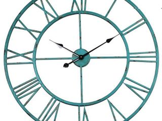 Utopia Alley Cl8Bl 30 in  dia  Round Oversized Roman Wall Clock  Distressed Sea Green