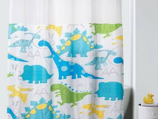 71 x74  DinoMite Shower Curtain with PVC Storage Pocket liner Capri   Hookless