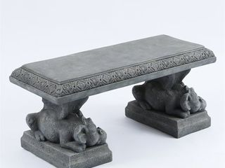 39in  Dragon Decorative Cement Garden Bench in Stone Finish  Retail 243 49
