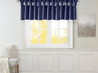 26 x50  lillian Faux Silk Twisted Tab Valance with Beads Navy