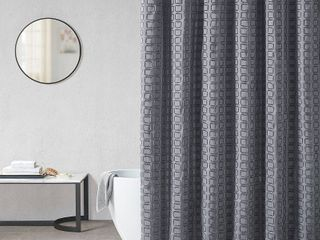 Madison Park Quade Woven Clipped Solid Shower Curtain