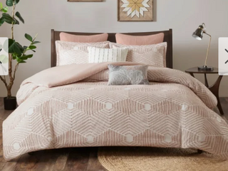 The Curated Nomad latia Blush Cotton Jacquard Duvet Cover Set Full Queen  Retail 89 99