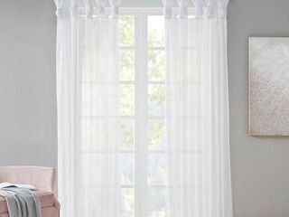 Set of 2 84 x50  Persis Twisted Tab Voile Sheer Window White