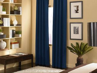 95 x50  Cameron Grommet Top Room Darkening Curtain Panel Navy   Curtainworks