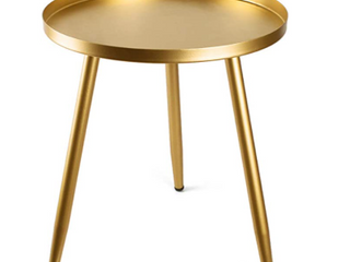 Tray Metal Round Side End Accent Coffee Table  Gold