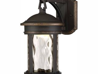 Envirolite 16 in  lED Olympic Bronze Outdoor Wall lantern Sconce with Clear Hammered Glass Shade