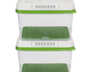 Rubber Made Food Storage Containers Set Of Two FreshWorks Food Saver   Green