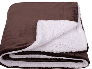 Brown And White Plush Throw Blanket